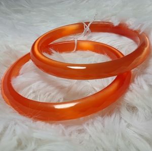 Geometric Tangerine Glass Bangle Bracelet Set